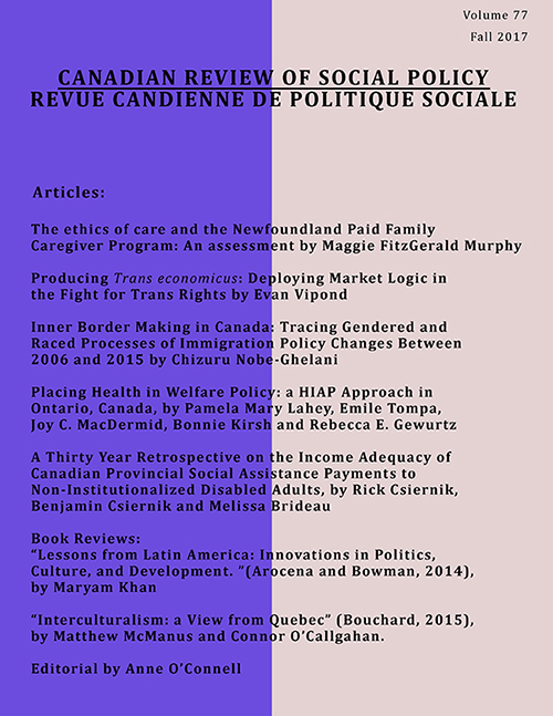 Canadian Review of Social Policy | Revue Canadienne de politique sociale volume 77 (2017)